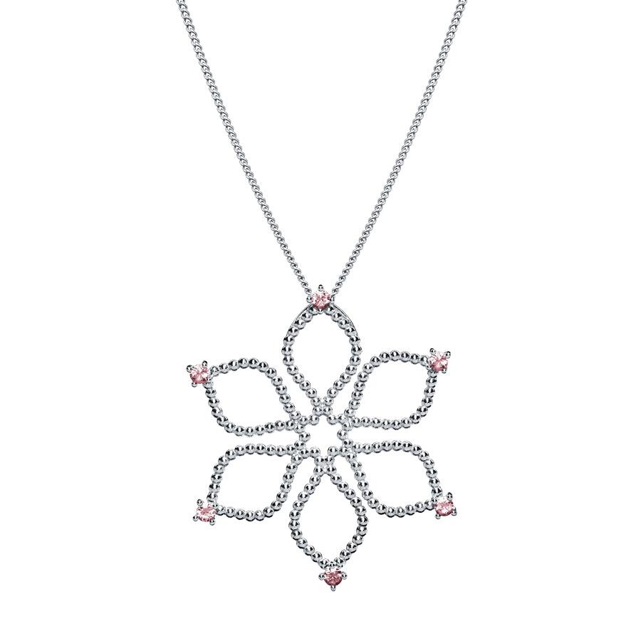 Anhänger Divine Flower mit pinken Saphiren | classic, silber