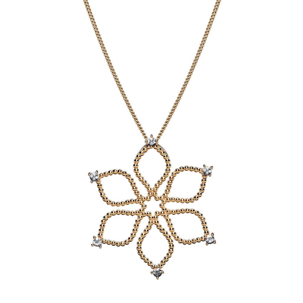 Anhänger Divine Flower mit Diamanten | classic, golden